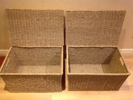 Woven storage boxes with lids