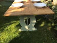 Large country antique vintage oak dining table