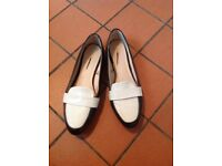 Ladies Next Black with white detail slip on shoes