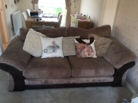 3 Seater sofa and Love seat with Pouffe - Brown