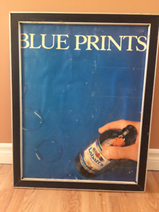 Vintage Labatt's Blue Stubbie Beer Poster from the early 80's