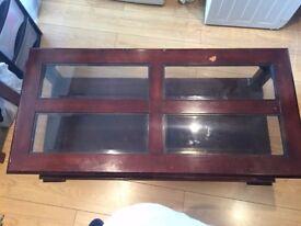 Coffee Table, glass and dark wood