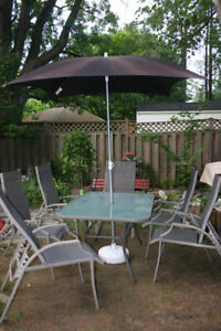 Big Patio Set with Umbrella with Stand. Six Solid Chairs.