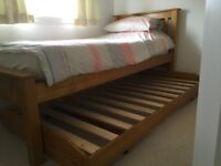 Solid Pine Single Bed with Trundle Guest Bed