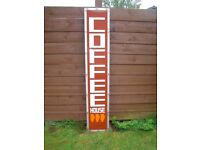 LARGE COFFEE ADVERTISING SHOP DISPLAY SIGN MONTROSE OR POSSIBLY DELIVER LOCALLY