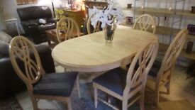Beautiful SOLID wood EXTENDING dining table 6 newly upholstered chairs £175 Stalybridge SK15 2PT