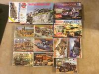 Set of 13 assorted model tank/military vehicle kits Airfix DIY