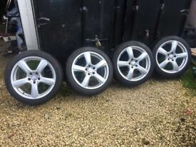 "4 GENUINE 18"" MERCEDES CLS 5 SPOKE ALLOY WHEELS - GOOD CONDITON!"