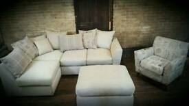 Corner sofa, footstool and accent chair