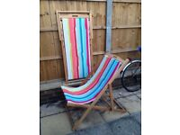 Two immaculate as new wooden colourful stripe foldable sunbed, loungers recliners John Lewis