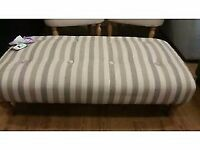 New reduced striped large footstool cream and biege