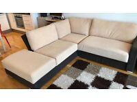 Nabru Cream/Coffee Modular Corner Sofa Bed