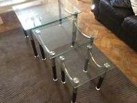 Side tables-nest of 3. Glass surface with chrome legs