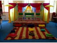 Mehndi Stages for Hire, Wedding Stages, House Lighting & Chair Covers