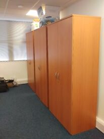 Office desks, peds, filing cabinets and tall units