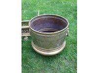 Brass fire surround and pot