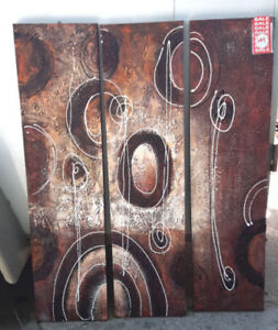 3 Pce Abstract Oil Painting NEW Reg $449
