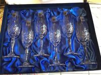Brand new 6 Royal Scot Crystal Champagne Flutes
