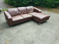 Brown leather corner sofa (free delivery)