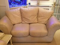 2 & 3 Cream Leather Sofa- VERY GOOD CONDITION! (small mark, hard to see)
