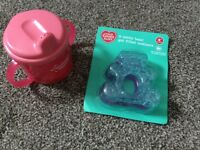New 2 gel filled teethers and new tommee tippee pink cup