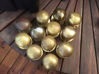 12 brass door knobs round would benefit from a polish
