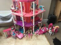 Barbie dream house with furniture.