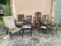 Job Lot - 9 Old Chairs (up-cycling project)