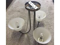Metal and glass ceiling light
