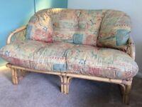 Cane two seater sofa plus armchair