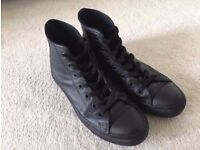 CONVERSE Chuck Taylor All Star Black Leather Hi Shoes Size 6