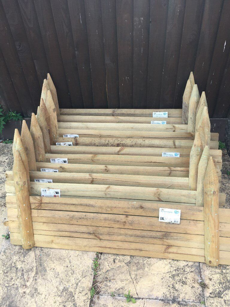 24cm High Horizontal Wooden Log Panel Garden Border