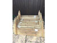 24cm high Horizontal Wooden Log Panel - Garden Border Board Lawn Edging