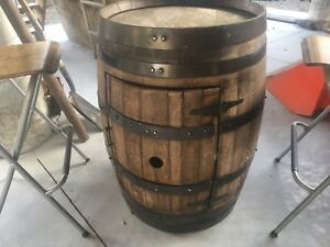 Liquor barrel and chairs.