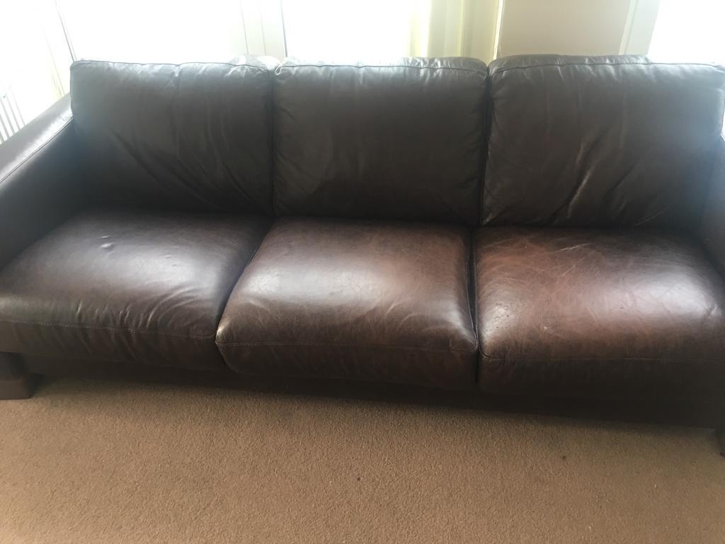 Brown leather sofas freein Leicester, LeicestershireGumtree - Free comfortable brown leather 3 seat sofa. Slightly cosmetic by cat but are in good condition and have plenty of life left. Free to collect. Measurements 3 feet by 7 feet92cm by 214cmPlease contact by text message