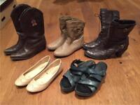 10 Pairs of Used Shoes & Boots - Sizes 4 & 5