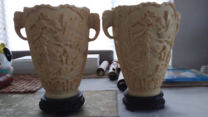 Pair of Oriental Vases made to look like Ivory