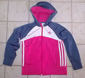 Girls Adidas Pink/Navy Track Hoodie **Size Small**