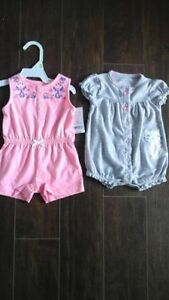 Two Brand New Carters Rompers - $15 for both