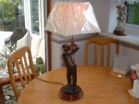 very nice golfer lamp with new shade great for a present or to keep