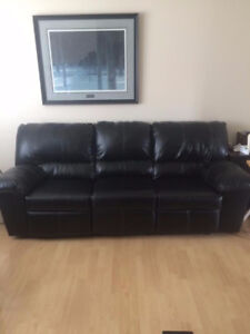 Leather power recliner couch