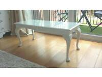 Vintage Restyled White Painted Queen Anne Coffee Table Glass Top