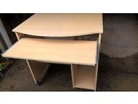 Computer Desk with sliding keyboard shelf. (x5) £5.00 each