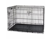 Puppy Crage/ Cage with Steel Floor, Heavy Duty Black (2 Doors) Large.