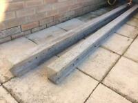 2 x 9ft (2.74m) slotted concrete fence posts
