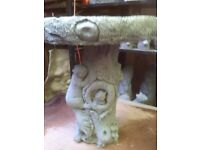 17 inch high concrete birdbath garden ornament . great detail