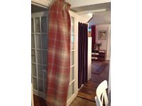 "2 PAIRS NEXT RED STIRLING CHECK CURTAINS 72"" DROP"