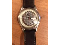 Airplane Fossil Watch. Vintage Pilot Aircraft Themed Wristwatch LE-9475