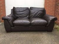 Matching Brown Leather Sofas and arm chair set from DFS
