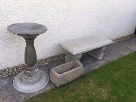 Garden bench,bird bath, planter